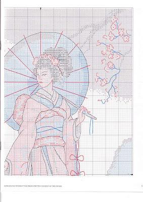 japonesa em ponto cruz