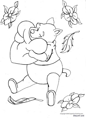 Black and White Winnie the Pooh Coloring Page