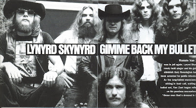 Lynyrd Skynyrd in 1976, at a photo shoot for the Gimme Back My Bullets LP