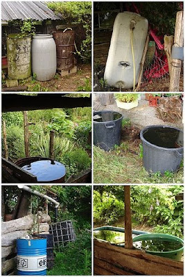 Collection of containers for catching rain water