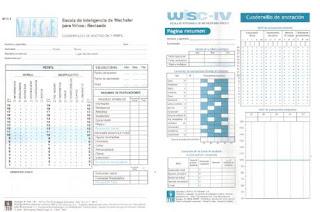 protocolo de la Escala Wechsler de Inteligencia para Niños  WISC-IV