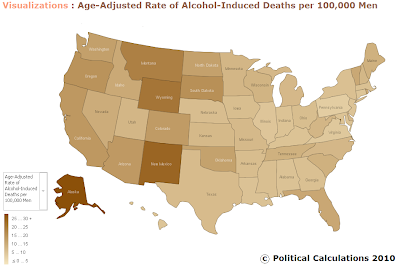 United States Age-Adjusted Alcohol-Induced Death Rate per 100,000 Men in 2006