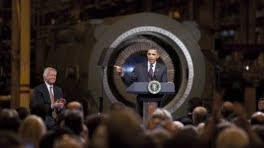 President Barack Obama points to GE CEO Jeffrey Immelt in Schenactady, NY in January 2011