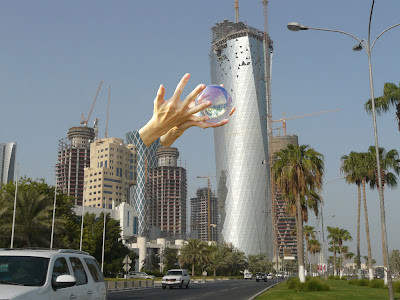 Image of Doha with crystal ball imposed over it.