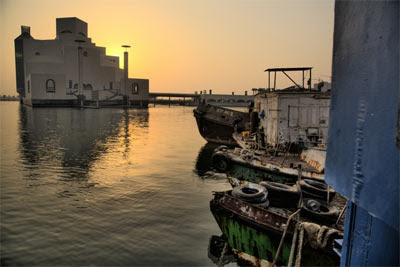 Fishing boats in the background of the Islamic museum.