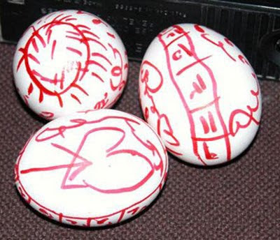 Eggs with mystical writing.