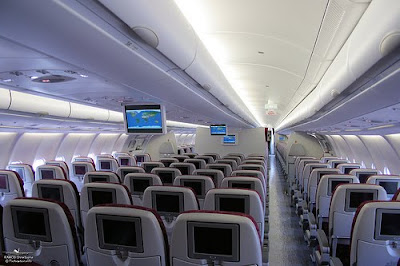 Inside a Qatar Airways airplane.