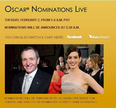 Oscar Nomination Live on The Web