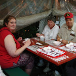 My daughter, aunt and uncle enjoy Strawberry shortcake at Parkesdale Farms, Florida