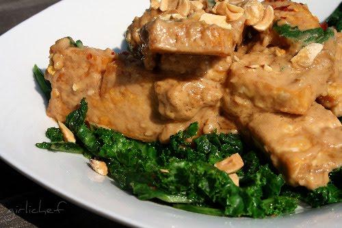 Crisp Tofu and Spicy, Bitter Greens w/ Peanut Sauce - All Roads Lead ...