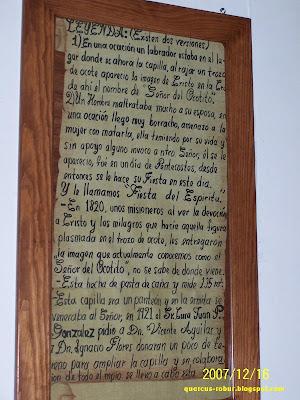 Leyendas publicadas en la capilla del Señor del Ocotito