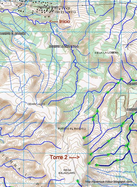 Mapa hidrográfico de Cerro Alto y Mesa Nejahuate