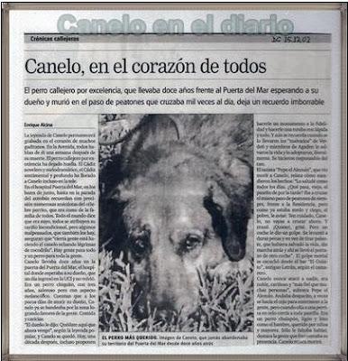canelo, el perro fiel, en el diario