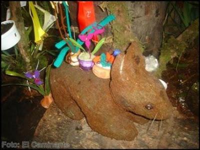 tallado con forma de conejo en el xiv festival de la orquidea 2009, moyobamba