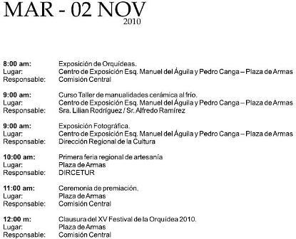 Cronograma del XV Festival de la Orquídea 2010 (Moyobamba, Perú)- Martes 02 de Noviembre