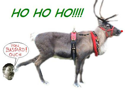 Rudolf with your hooves so hard/Next time kick him in the 'nards.