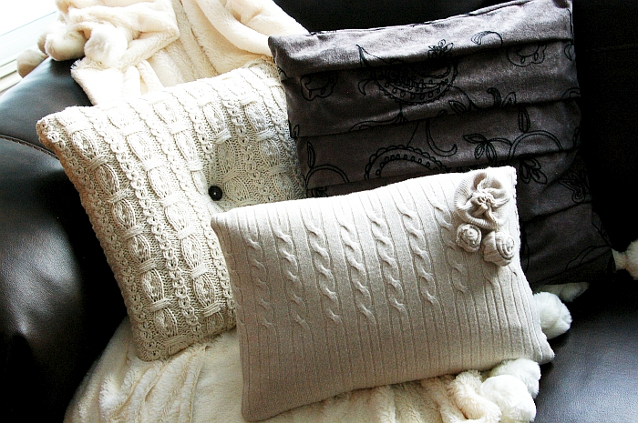 Brassy Apple: Sweater Pillows - challenge/contest/pay it forward!