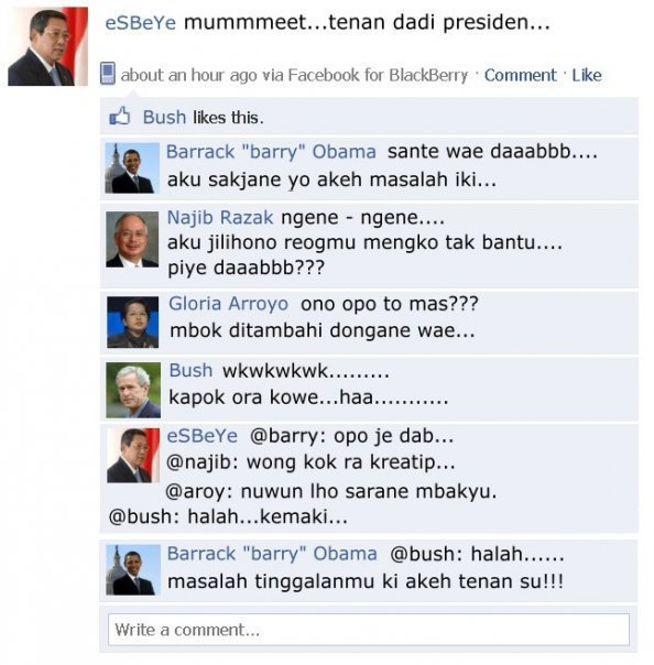 ternyata para presiden suka main FB