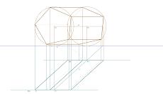 Representação diédrica de um Prisma Pentagonal