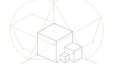 Representação Axonométrica de um sólido composto por três cubos