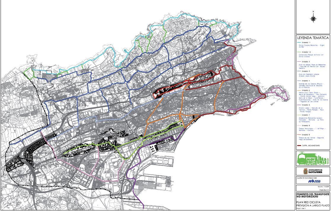Mapa detallado de la futura red ciclista de Santander