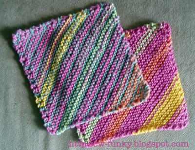 Knitting Pattern Dishcloth Knitted Diagonal : sew-funky: striped diagonal cloth