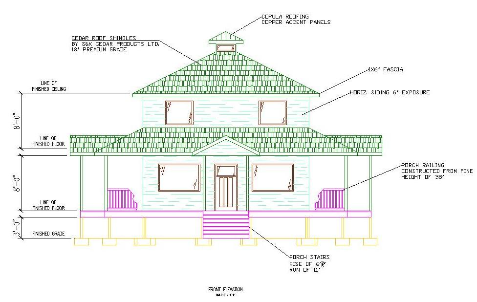 Front Elevation Autocad 2d : Front elevation cad design joy studio gallery
