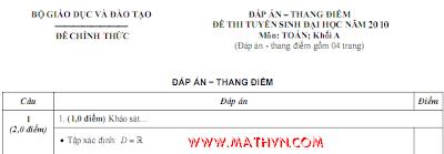Đáp án đề thi Đại học khối A năm 2010 (Toán, Lý, Hoá) của Bộ GD-ĐT