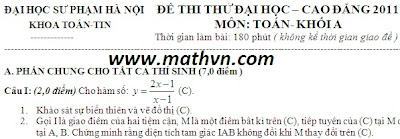 de thi thu dh 2011, 31 de thi thu dai hoc mon toan co dap an nam 2011