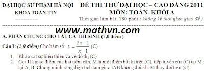 de thi thu dh 2011, 31 de thi thu dai hoc mon toan co dap an nam 2011