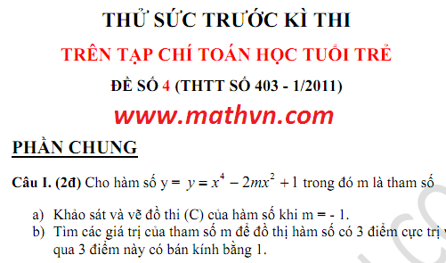 Thu suc truoc ki thi 2011, de thi thu dai hoc 2011 tren tap chi toan hoc tuoi tre