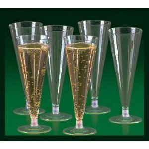 25 Clear Plastic Champagne Wedding Toasting Flutes Gles