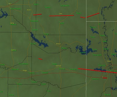 Tornado Tracks In Red.