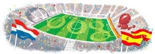 Final Mundial 2010 logo de Google, final de la Copa del Mundo 2010 España-Holanda