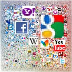 Sitios más visitados de internet en un poster
