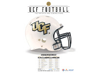White UCF football helmet with UCF Football text at the top of the page. Below the helmet is a 2007 UCF Football schedule.