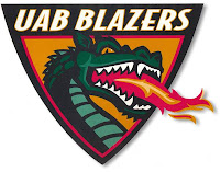 Trademarked downward pointing University of Alabama Birmingham logo with the text UAB Blazers and green dragon breathing fire against a white background.