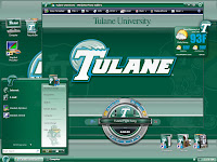 Computer desktop image of numerous green Tulane themed windows opened.