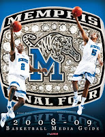Two University of Memphis basketball players in white uniforms shooting basketballs with a background depicting a University of Memphis Final Four ring. This image served as the media guide cover for the 2008-2009 season.