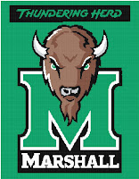 Green banner of the head of the Marshall University buffalo mascot over a green letter M with the title Thundering Herd written above the image.