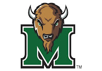 Marshall University logo depicting only the horned buffalo mascot and trademarked green M logo with a white background.