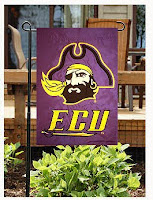 ECU purple pirate flag outdoors.