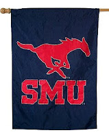Dark blue SMU flag with red mustang and SMU letters.