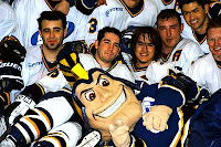 San Jose State mascot with hockey team.