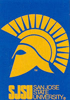 SJSU flag with Spartan helmet.