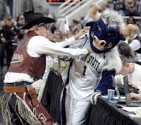 New Mexico State mascot attacks Utah State mascot at basketball game.