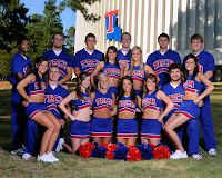 Louisiana Tech cheerleader portrait in blue uniforms.