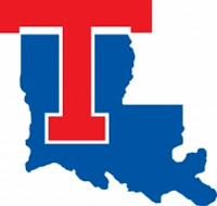 Red T logo with blue state of Louisiana logo.