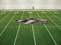 Lobo picture at 50 yard line of football field.