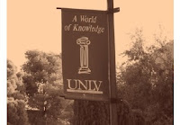 Black and white picture of UNLV flag.